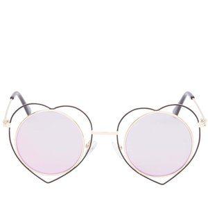 Betsey Johnson- Heart Rimmed Round Sunglasses/ Blk